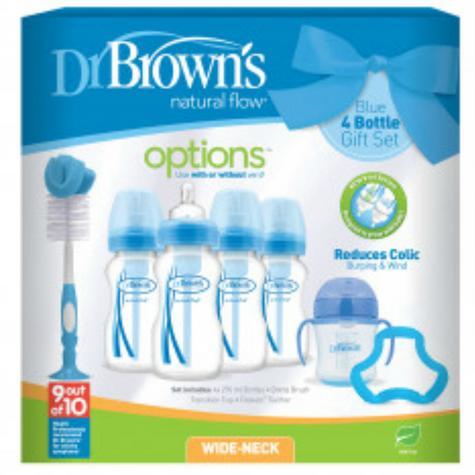 Dr Browns Baby Feeding 4 Bottle Gift Set|Wide Neck|Natural Flow Starter|BPA Free Thumbnail 3