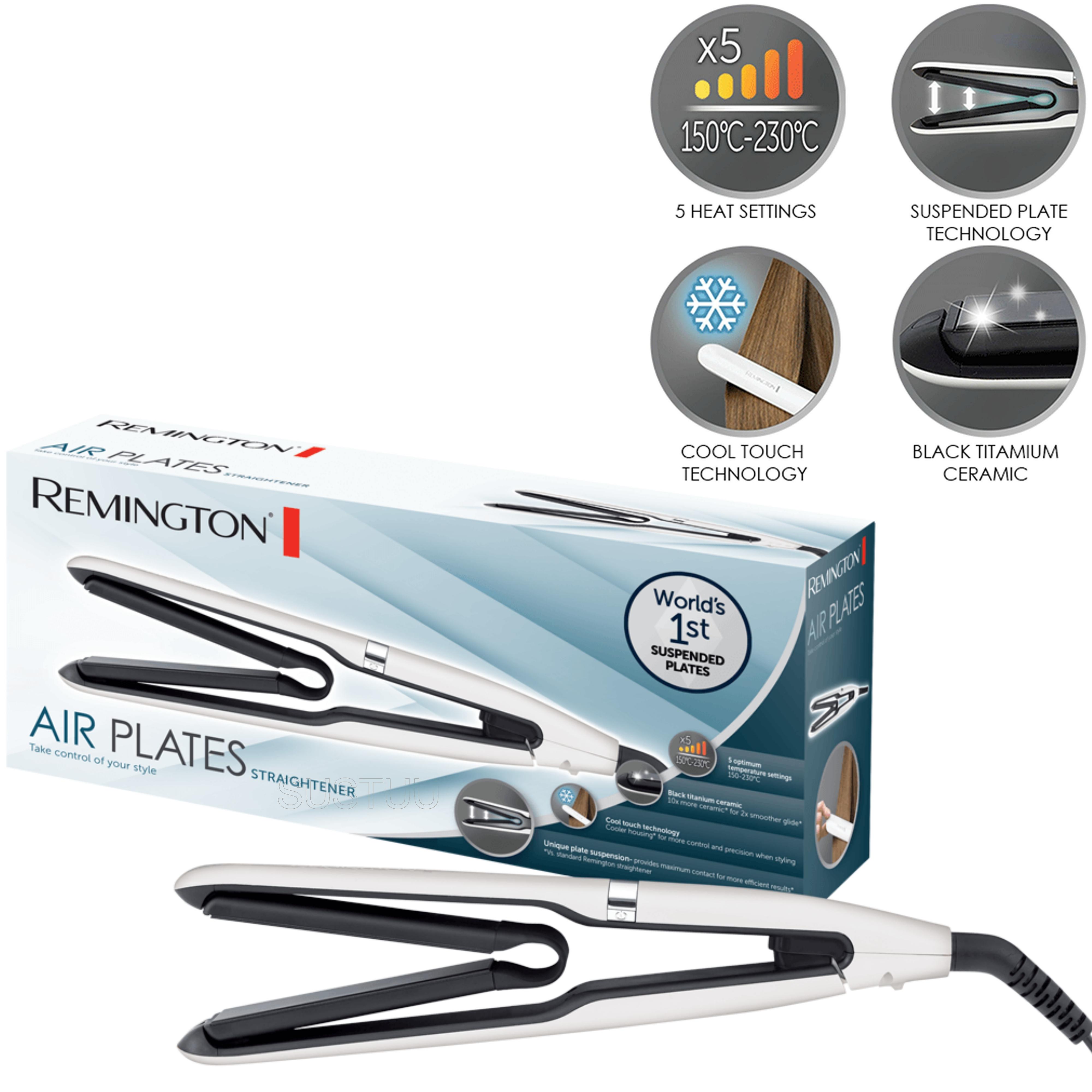 Remington Air Plates Ceramic Hair Straightener | 5 Heat Settings | 230°C | White | S7412