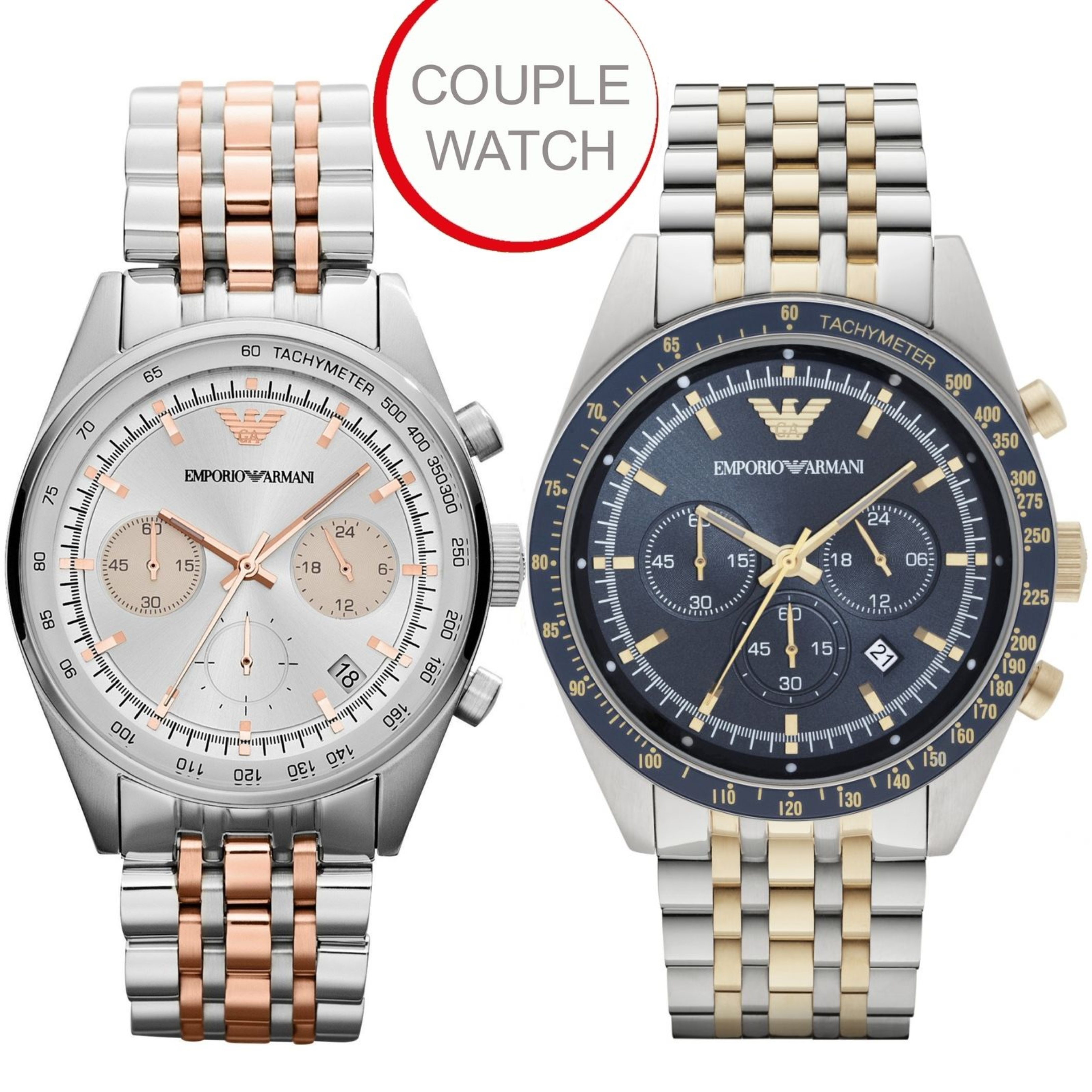ab8364530adc2 Emporio Armani Sportivo Couple Watch|Duel Tone|Chronograph|Christmas Combo  Deal | Sustuu