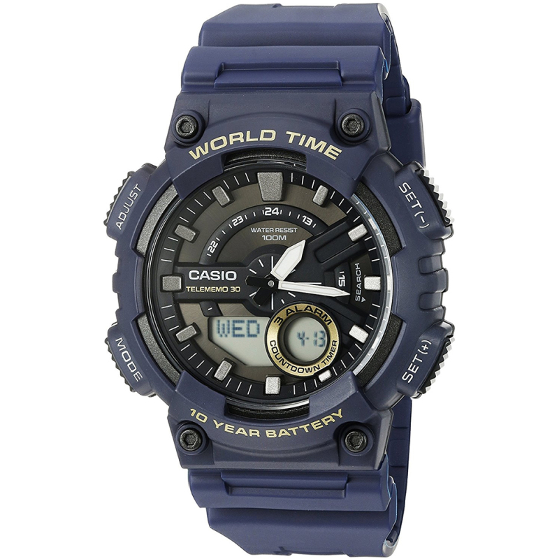 Casio World Time Mens Analouge-Digital Watch|Stopwatch|Alarm|Blue Resin Strap|NEW