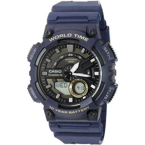 Casio World Time Mens Analouge-Digital Watch|Stopwatch|Alarm|Blue Resin Strap|NEW Thumbnail 1