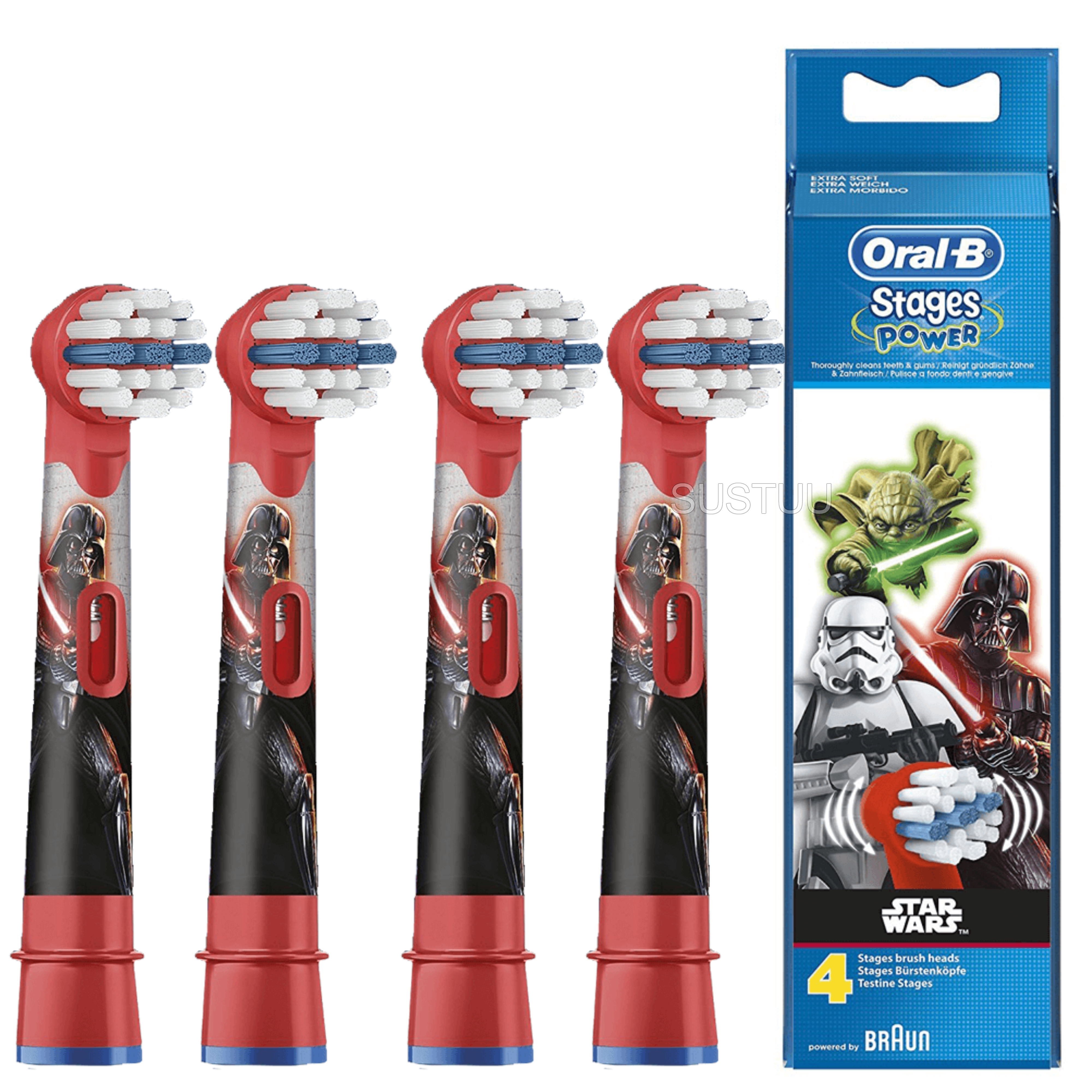 Oral-B Stages Power Replacement Toothbrush Heads (Pack of 4) | Kids Star Wars | NEW