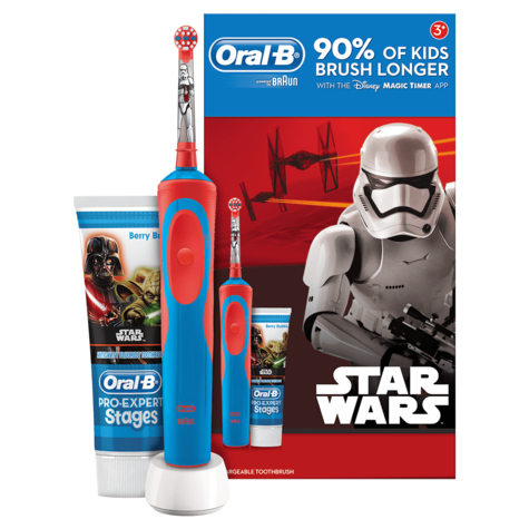 Oral-B Stages Power Kids Electric Toothbrush Set | Toothpaste | Star Wars Characters Thumbnail 2