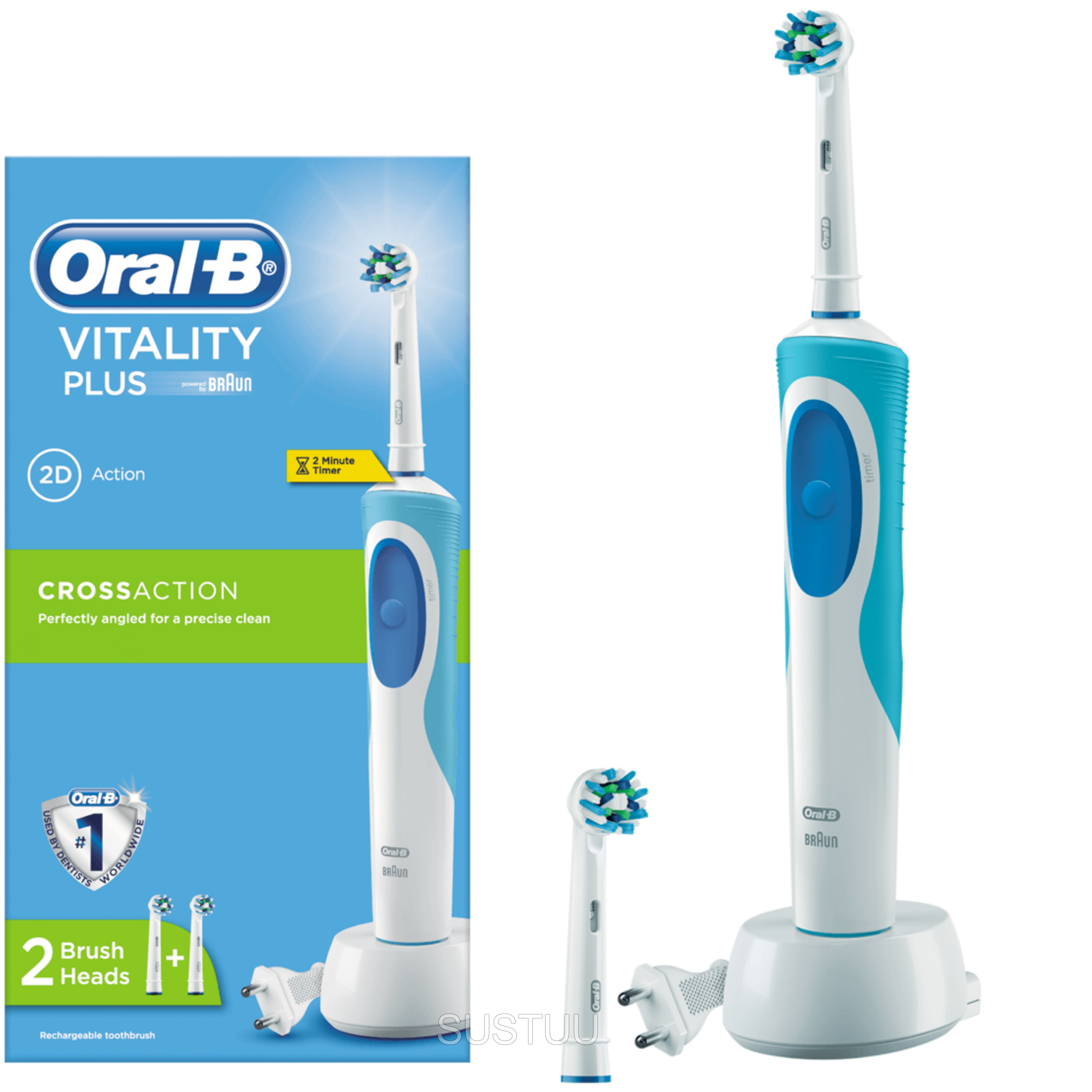 Oral-B Vitality Plus Electric Rechargeable Toothbrush | 2 Cross Action Brush Heads
