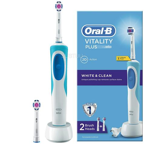 Oral-B Vitality Plus White & Clean Electric Rechargeable Toothbrush | 2 Brush Heads Thumbnail 1