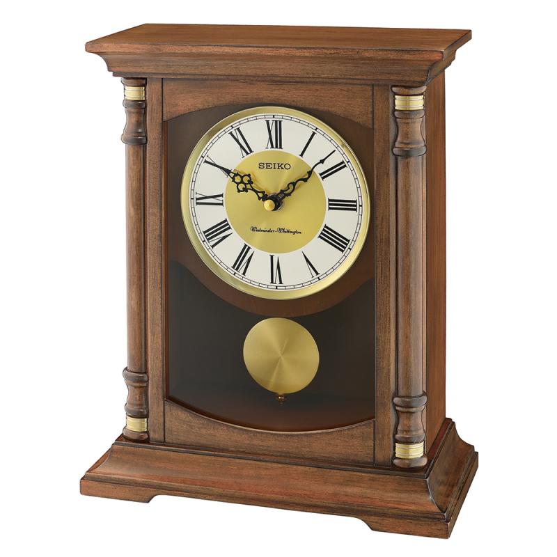 Seiko Qxq034b Table Desk Anniversary Standing Wooden Clock Pendulum Dual Chime