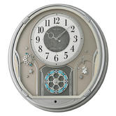 Seiko QXM375S Melodie in Motion Wall Clock|Rotating Pendulum|Light Sensor|Silver