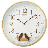 Seiko QXC237Z Swinging Bird Pendulum Wall Clock|Wood Effect Case|Plastic|White