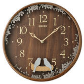 Seiko QXC237B Swinging Bird Pendulum Wall Clock|Wood Effect Case|Plastic|Brown