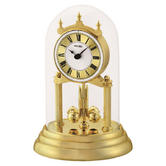 Seiko QHN006G Table/Desk Anniversary Analogue Clock|Rotating Pendulum|White&Gold