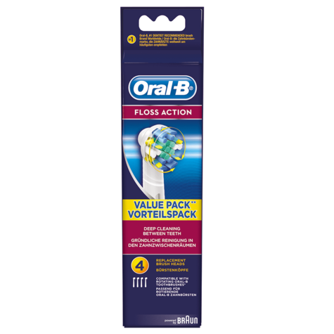 Oral-B Floss Action Electric Toothbrush Head (Pack of 4) | Replacement Refills | NEW Thumbnail 4