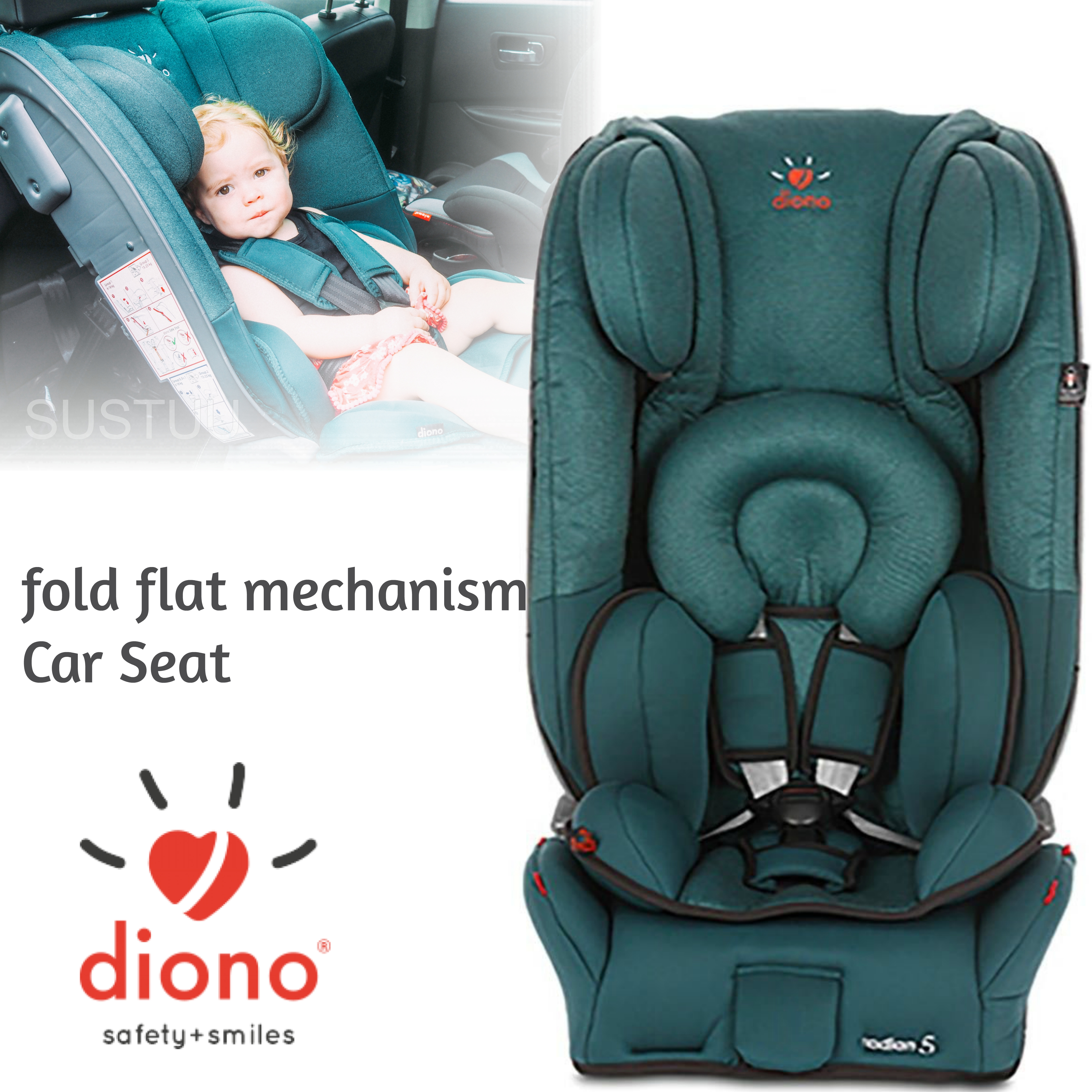 Diono Radian 5 Lagoon DNO-CAR01|Baby Child Convertible Car Travel Seat|Foldable