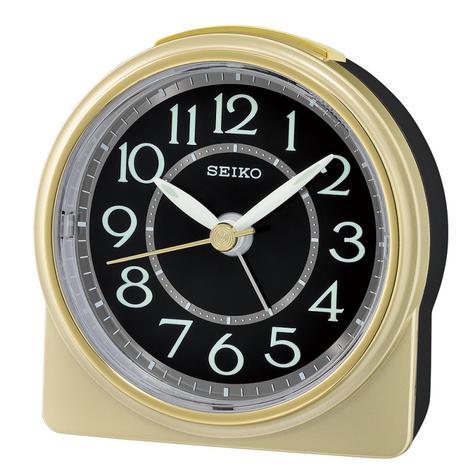 Seiko QHE165G Analogue Beep Alarm Clock|Beep Alarm/Snooze|Lumibrite hands|Gold Thumbnail 1