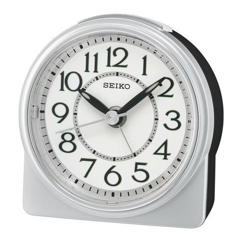 Seiko QHE165S Analogue Beep Alarm Clock|Beep Alarm/Snooze|Lumibrite hands|Silver Thumbnail 1