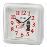 Seiko QHE906W Coca-Cola Standing Beep Alarm Clock|LED light|Snooze|Analogue|White