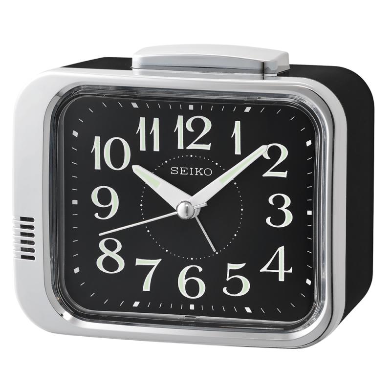 Seiko QHK049A Bell Alarm Clock|Analogue|Arabic Numerals|Lumibrite Hands|Black