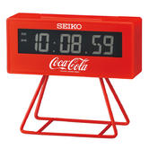Seiko QHL901R Limited Edition Coca-Cola LCD Digital Alarm Clock With Stand - Red