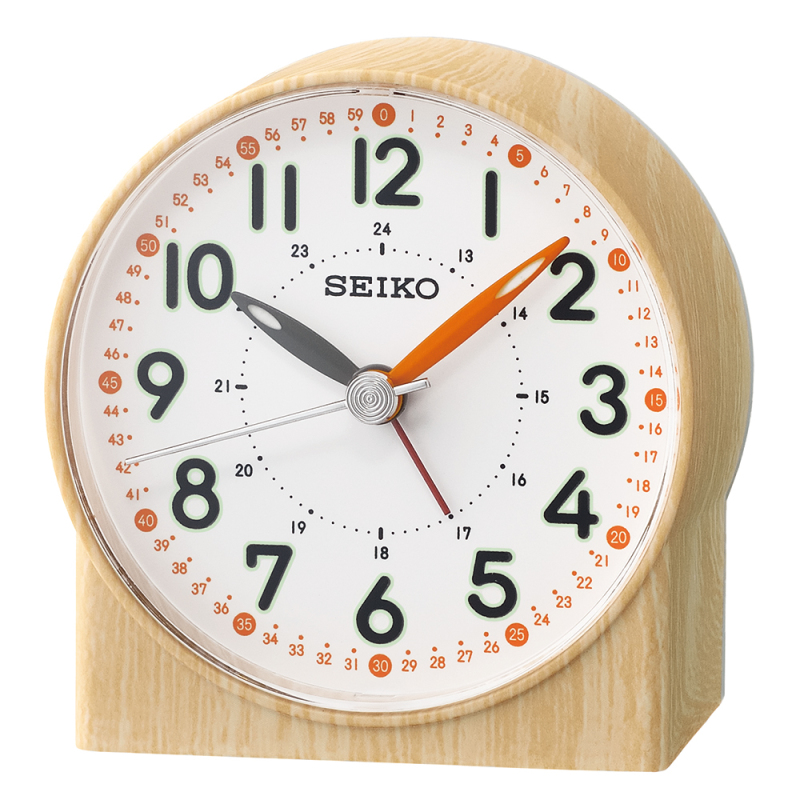 Seiko QHE168Y Bedside Analoug Alarm Clock|Wood Pattern Case|Orange Lumibrit Hand