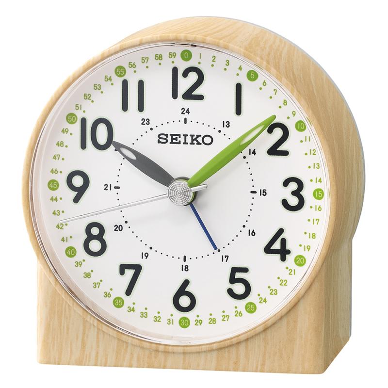 Seiko QHE168B Bedside Analoug Alarm Clock|Wood Pattern Case|Green Lumibrit Hand