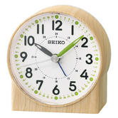 Seiko QHE168B Bedside Analoug Alarm Clock|Wood Pattern Case|Green Lumibrit Hand