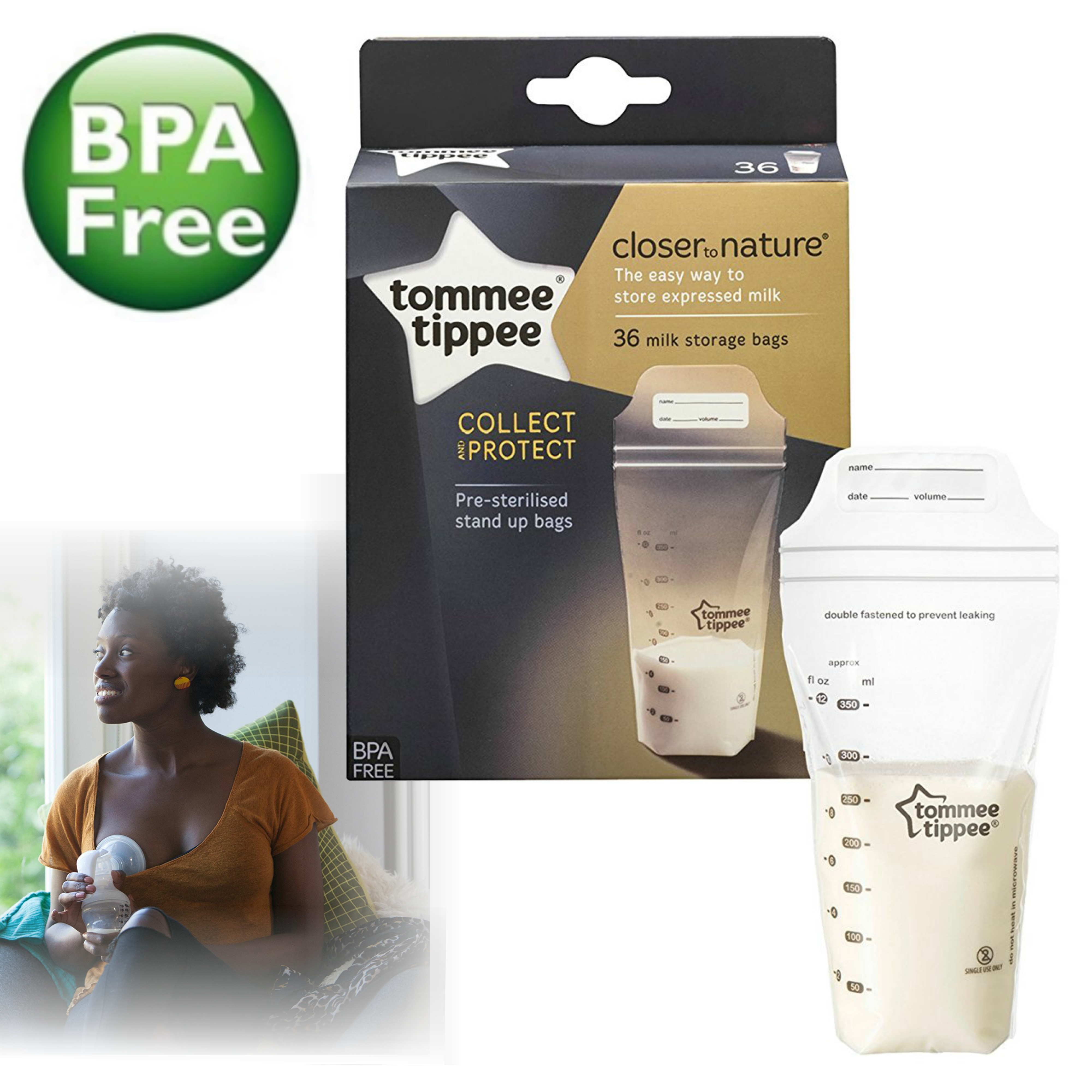 Tommee Tippee Breast Milk Storage Bags | Pre-sterilised | Closer to Nature | 36 Bags