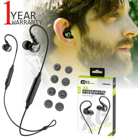 MEE Audio X6 Bluetooth Wireless Sports In-Ear Headset|Sweat Res.|Clear Sound - NEW Thumbnail 1