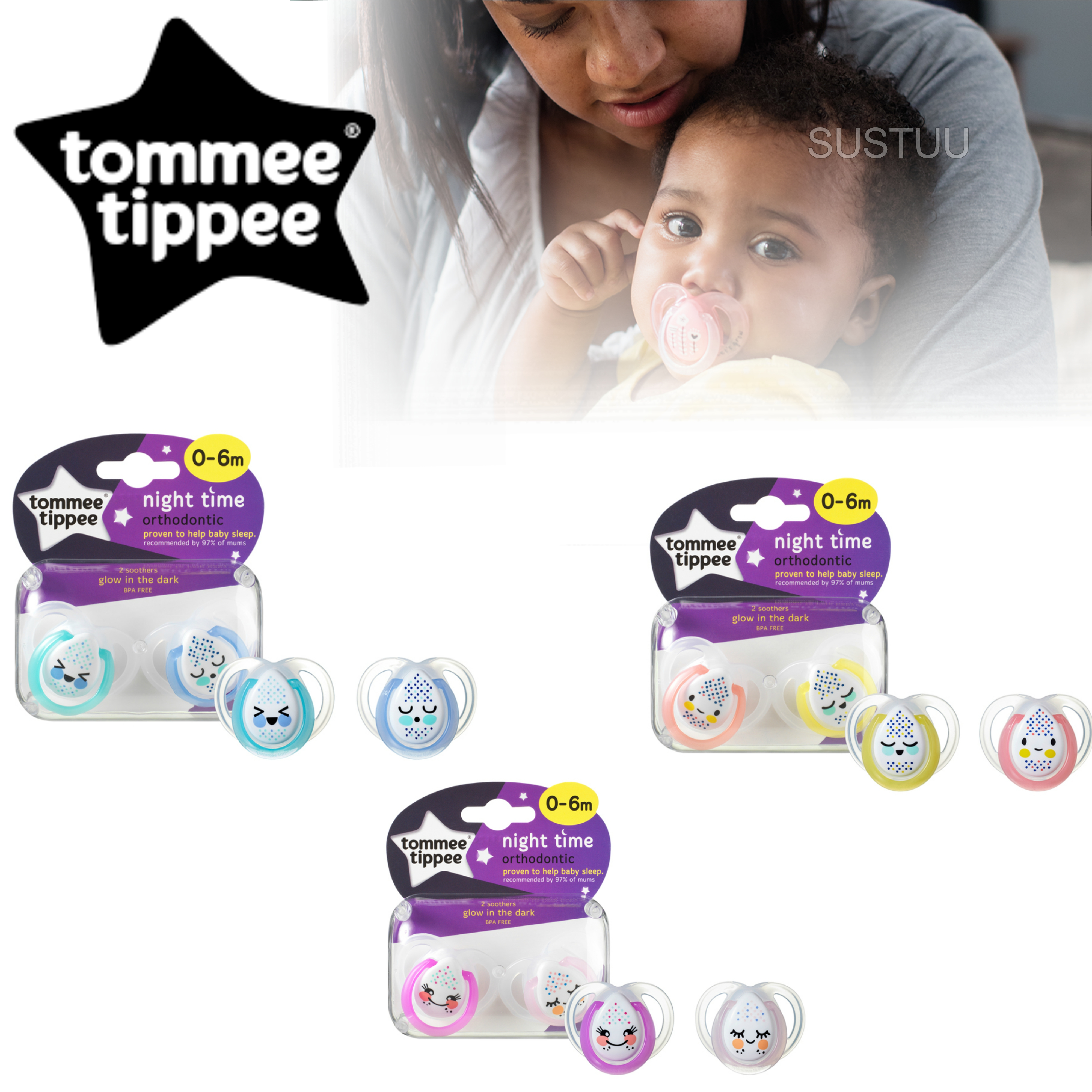 Tommee Tippee  Night Time Soother 0-6m 2Pk | Supports Natural Oral Develpment | New