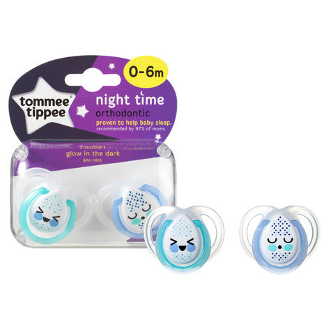 Tommee Tippee  Night Time Soother 0-6m 2Pk | Supports Natural Oral Develpment | New Thumbnail 3