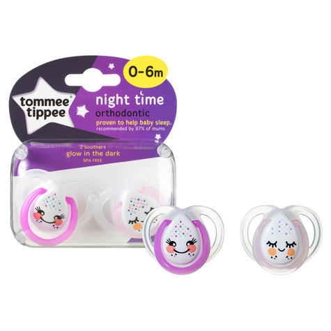Tommee Tippee  Night Time Soother 0-6m 2Pk | Supports Natural Oral Develpment | New Thumbnail 5