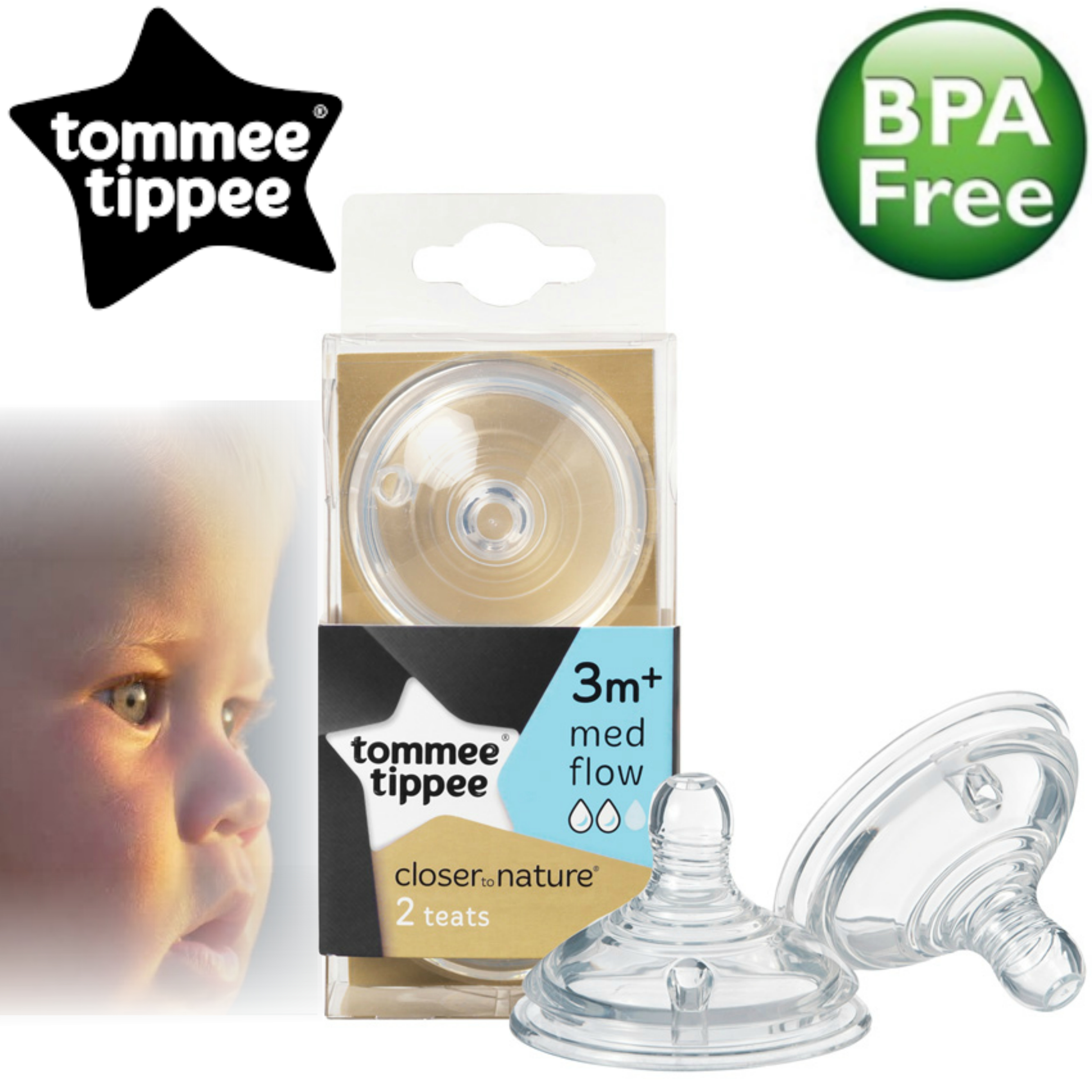 Tommee Tippee Closer to Nature Easi-Vent Medium Flow Teat | Soft Silicone-2Pk