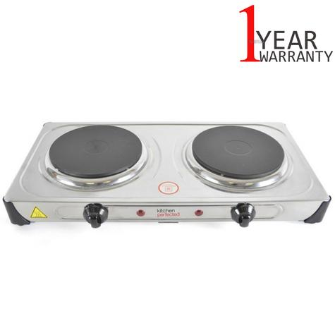 Lloytron KitchenPerfected 2000w Double Induction Cast Iron Hotplate | Stainless Steel Thumbnail 1