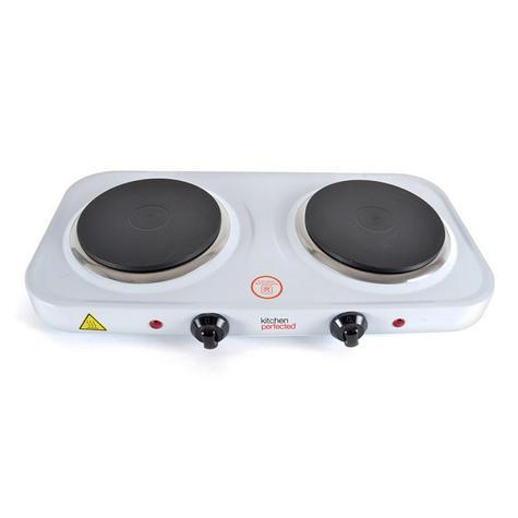 Lloytron E4202 KitchenPerfected  2000w Double Induction Hotplate | Cast Iron | White Thumbnail 2