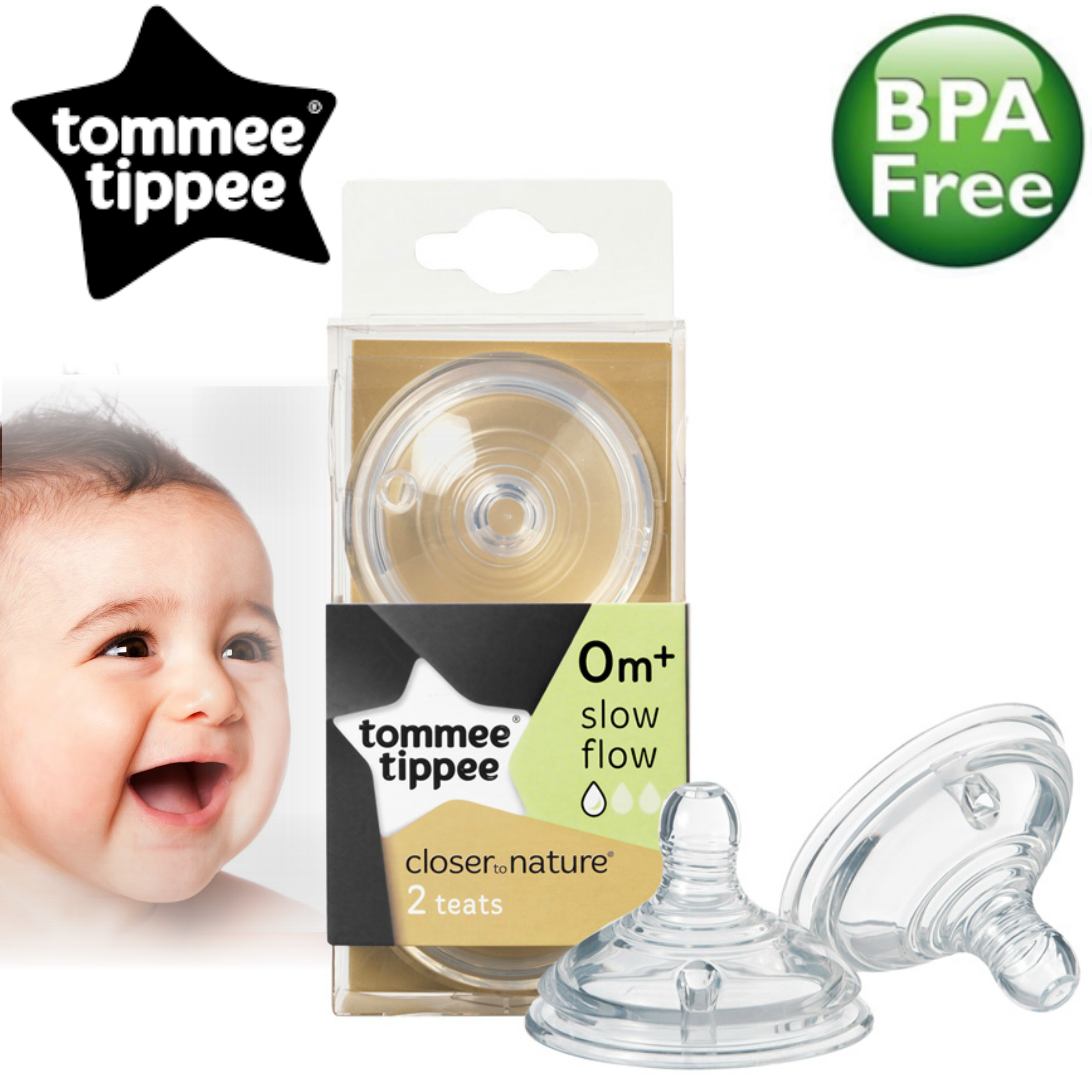 Tommee Tippee Closer to Nature Easi-Vent Slow Flow Teat | Soft Silicone-Pack of 2