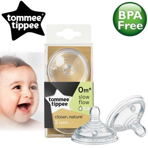 Tommee Tippee Closer to Nature Easi-Vent Slow Flow Teat | Soft Silicone-Pack of 2 Thumbnail 1