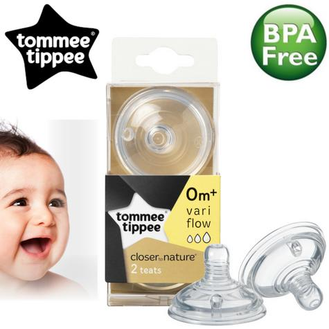 Tommee Tippee Closer to Nature Easi-Vent Variflow Teat | Soft Silicone-2Pk | 0m+ Thumbnail 1