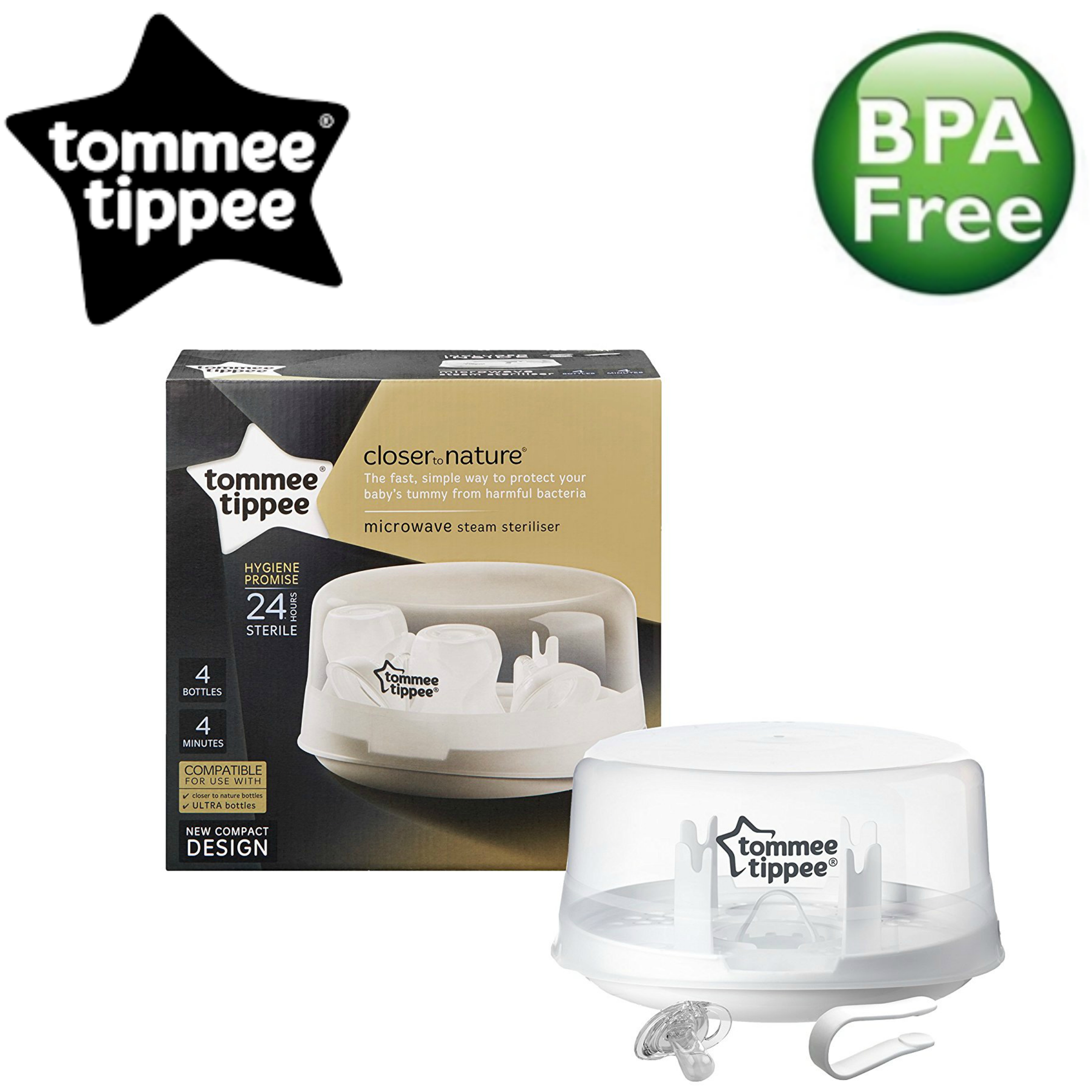 Tommee Tippee Microwave Steam Steriliser | Holds 4 Baby Feeding Bottles | compact | New