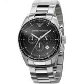 Emporio Armani Mens Sportivo Black Dial Stainless Steel Chronograph Watch AR0585