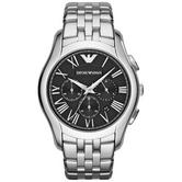 Emporio Armani Classic Chronograph Black Dial Stainless Strap Men's Watch AR1786