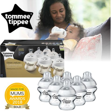 Tommee Tippee 150 ml/5oz Baby Feeding Bottle x 6 | Soft Teats | Sensitive | Anti Colic | New Thumbnail 1