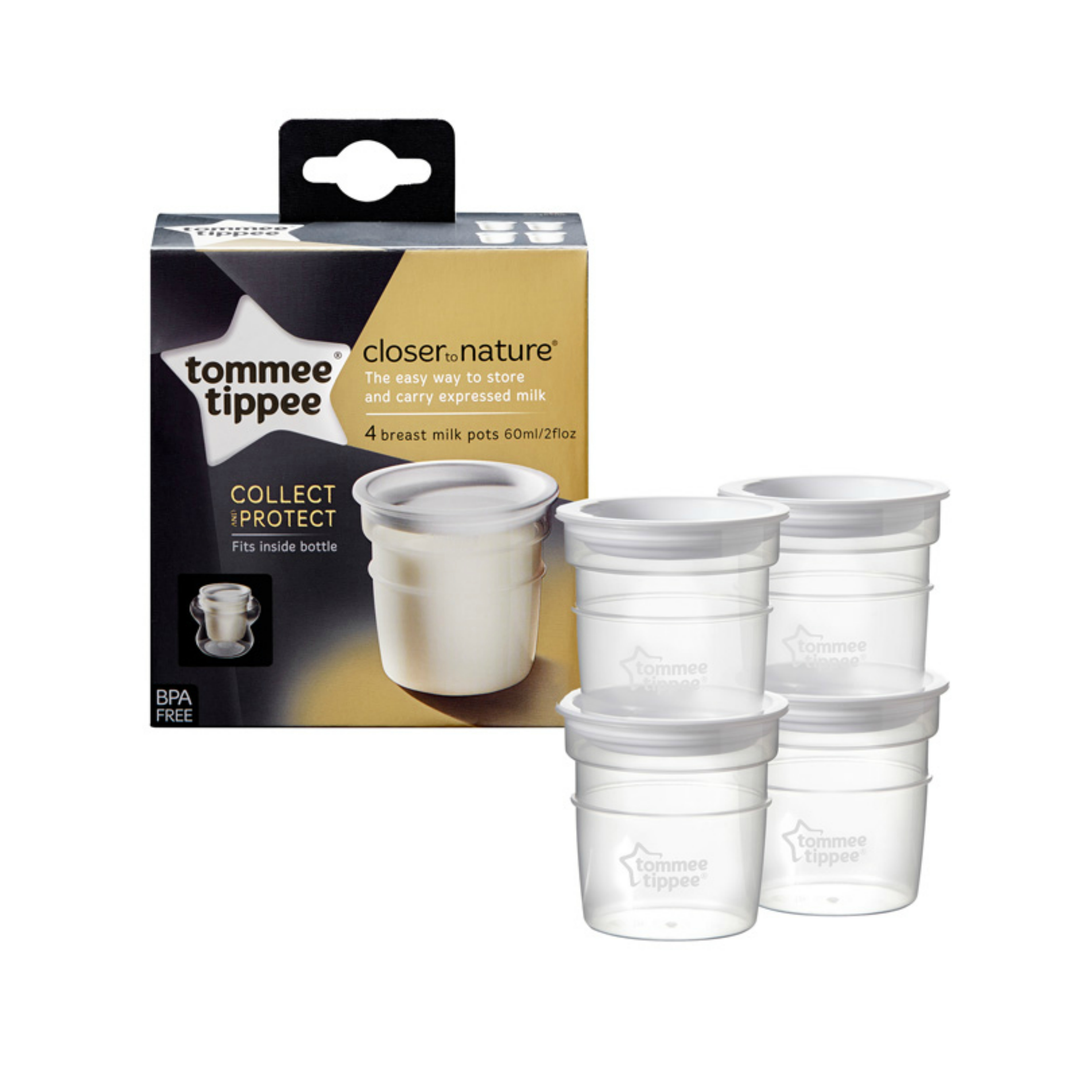 Tommee Tippee Closer to Nature Breast Milk Storage Containers 4Pk | Pots | In Fridge | New