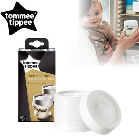 Tommee Tippee Closer to Nature Milk Storage Lids 4Pk | BPA-Free | Microwave Safe | New Thumbnail 1