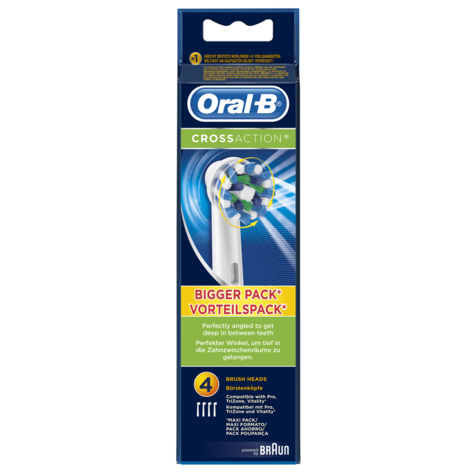 Oral-B CrossAction Electric Toothbrush Heads (Pack of 4) | Replacement Refills | NEW Thumbnail 4