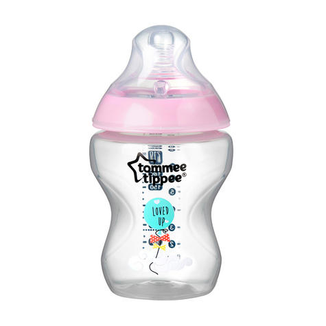 Tommee Tippee Closer to Nature Decorated Bottle Pink 260ml 6Pk | Anti-Colic | New Thumbnail 4