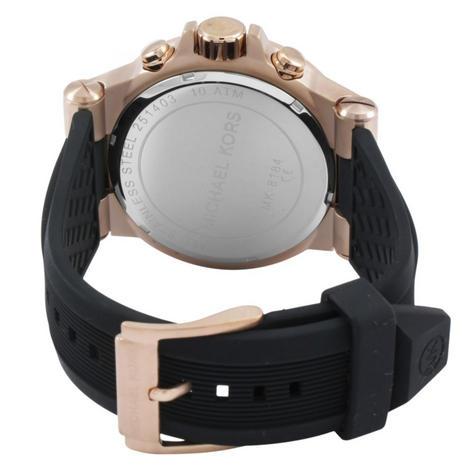 6da1993ba397 Michael Kors Dylan Men s Watch MK8184 Chronograph Black Dial Black Rubber  Strap Thumbnail 3