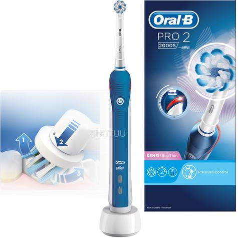 Oral-B Pro2 2000 Sensi UltraThin Rechargeable Electric Toothbrush | 2 Minute Timer Thumbnail 1
