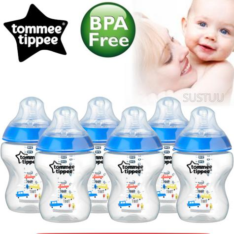 Tommee Tippee Closer to Nature Decorated Bottle Blue 260ml 6Pk | Anti-Colic | New Thumbnail 1