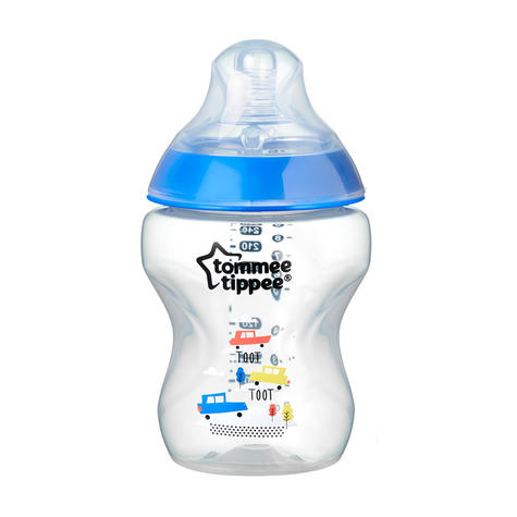 Tommee Tippee Closer to Nature Decorated Bottle Blue 260ml 6Pk | Anti-Colic | New Thumbnail 4