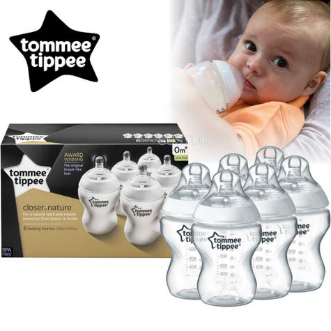 Tommee Tippee Closer to Nature Baby Feeding Bottles 260ml 6Pk | Anti Colic | New Thumbnail 1