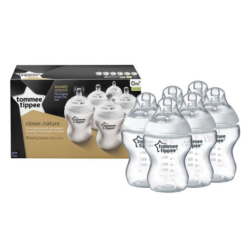 Tommee Tippee Closer to Nature Baby Feeding Bottles 260ml 6Pk | Anti Colic | New Thumbnail 2