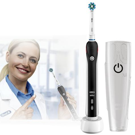 Oral B Pro 2 Cross Action Rechargeable Electric Toothbrush + Travel Case | 2 Modes Thumbnail 1